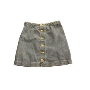 American Apparel Button Front Mini Jean Skirt